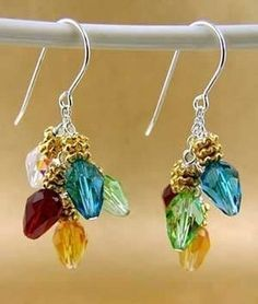 Holiday Sparkle Christmas Lights Swarovski Teardrop Earrings with Sterling Silver and Gold Finishes | Jewelry Project Kit | Harlequin Beads and Jewelry Custom Kits