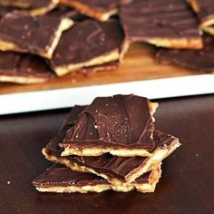 Easy Salted Caramel Toffee made with homemade caramel & melted semi-sweet chocolate chips.