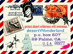 Wildlife oriented mail art, stamp art, postcards and envelopes