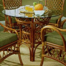 South Sea Rattan Pacifica Indoor Wicker Dining Table With Size Options - Modern Wicker, LLC Outdoor Dinning Table, Dining Table Height, Pedestal Table Base, Wicker Dining Set, Dinning Room Tables, Glass Dining Table, Dining Rooms, Dining Chairs, Indoor Rattan Furniture