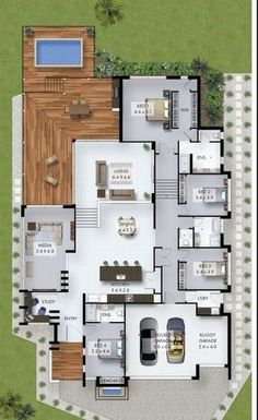 32 ideas house plans ranch 4 bedroom study for 2019 Sims House Plans, House Layout Plans, Ranch House Plans, Dream House Plans, Modern House Plans, House Layouts, Modern House Design, Sims 4 Houses Layout, Modern Garage