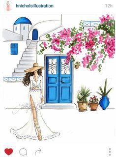 santorini greece fashion illustration