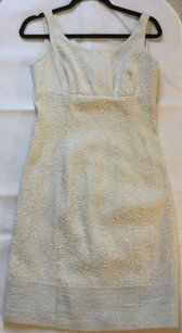 84b4217cf Armani Collezioni Beige Tweed Mid-length Cocktail Dress Size 4 (S) - Tradesy