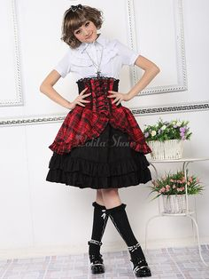 Red Lace-Up Short Sleeves Cotton Blended Lolita Skirt - Lolitashow.com