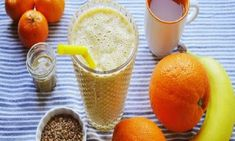 smoothie with tahini and flaxseeds Breakfast Tea, Tahini, Diet Tips, Healthy Drinks, Smoothies, Remedies, Health Fitness, Pudding, Fruit