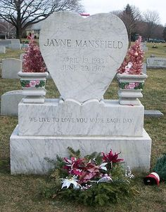 Jayne Mansfield is interred in Fairview Cemetery, southeast of Pen Argyl, PA beside her father Herbert William Palmer.