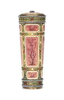 A JEWELLED GOLD-MOUNTED AND GUILLOCHÉ ENAMEL PARASOL HANDLE