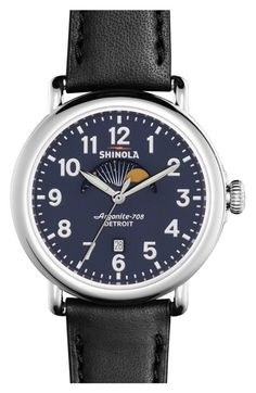 Shinola 'The Runwell' Moon Phase Leather Strap Watch, 41mm available at #Nordstrom
