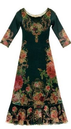 Michal Negrin Round Neck Special Occasion Black Long Dress Made of Chiffon Lycra with Victorian Large Flower Print Accented with Gold Merrow Edge Finish; 2-Layered Hem Michal Negrin, http://www.amazon.com/dp/B008N2Q27M/ref=cm_sw_r_pi_dp_2USirb0A8ERYM