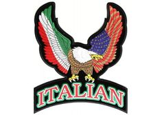 Italian eagle patch large - Multicolor Italian and American Flag designs on the wings of Eagle. Perfect patch for Bikers Vest #biker #sewon