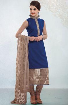 #Blue Cotton #Churidar #Kameez with Dupatta  | @ $ 152.71