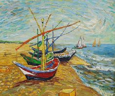 Fishing Boats On The Beach 1888. Van Gogh's joyful visit to the fishing village of Sainte-Maries. Two different kinds of vision united in one work: nature seen as light and airy in countless tones of high-keyed color, then, man's objects the boats, in flat airless tones of primary color, along the beach beside one another, overlap with crossing masts, a network of spots and colored lines, the irregular patterns of the seashore, the waves and the vast currents of the shapeless clouds.