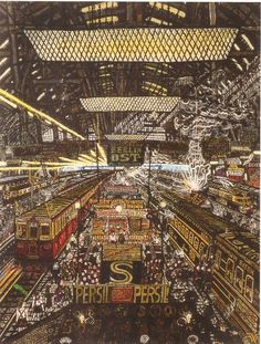 Although it looks as if alot is going in this picture as if its wheres waldo. It is still so intricate and so detailed it seems as if you are there in this place. Outsider Art, Research Images, Fantasy Concept Art, Art Brut, Wheres Waldo, Art Database, Art For Art Sake, Visionary Art, Oeuvre D'art