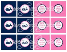 Preppy Pink and Navy Whale Party Collection by sweetpeachpaperie, $6.95