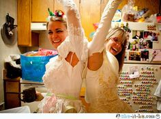 UGLY dress bachelorette party! go to the thrift store and find the ugliest wedding dresses you can for the party