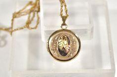 Coleman Black Hills Gold 14KGF Pink Leaf w Green leaves Locket Pendant Necklace #Coleman #Locket