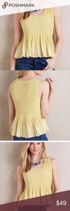 NWOT Anthropologie Moth Yellow Ostinato Top Size S NWOT Anthropologie Moth Yellow Ostinato Top Size S  Bright yellow Ostinato peplum top from Moth (Anthropologie brand). New without tags, never worn. Brand tag has marker line to prevent returns. Retails for $98. Anthropologie Tops