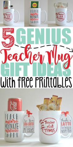 5 DIY Teacher Mug Gift Ideas with Free Printables - 5 Genius DIY Teacher Mug Gift Ideas with Free Printables – Crazy Cool Mugs The Effective Pictures - Pun Gifts, Gifts In A Mug, Coffee Gifts, Coffee Mugs, Teacher Christmas Gifts, Teacher Gifts, Christmas Ideas, Christmas Inspiration, Holiday Gifts