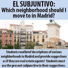 Spanish - Present Subjunctive - A real estate agent in Madrid Spanish Basics, Ap Spanish, Spanish Grammar, Spanish Language Learning, Spanish Teacher, Spanish Classroom, How To Speak Spanish, Learn Spanish, Classroom Ideas