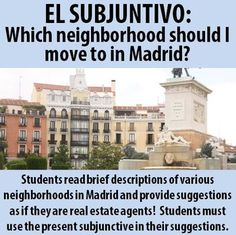$ Your students are now real estate agents in Madrid!  They must use the subjunctive to suggest appropriate neighborhoods to move to based on their clients' likes and interests.