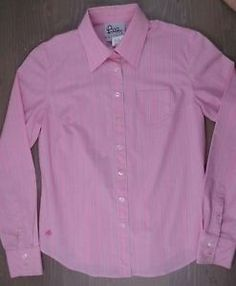 Lilly-Pulitzer-Shirt-8-Womens-Button-Down-Long-Sleeve-Blouse-Pockt-Striped-Pink