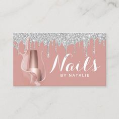 Nail Salon Silver Drips Rose Gold Manicurist Business Card Gold Acrylic Nails, Rose Gold Nails, Rose Gold Glitter, Salon Business Cards, Makeup Artist Business Cards, Wedding Nail Polish, Wedding Nails, Nail Art Machine, Nail Salon Decor