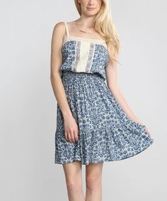 Look at this Blue & White Floral Blouson Dress on #zulily today!