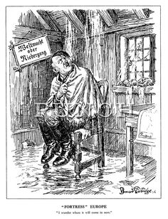 """""""Fortress"""" Europe. """"I wonder where it will come in next."""" (Hitler sits on a chair under a leaky roof as his 'Wehrmacht or Demise' notice is lopsided and a map showing Frankreich sits on a table after the Allied invasion of Europe) - 1944, D-Day. Cartoon by Partridge, Punch magazine."""