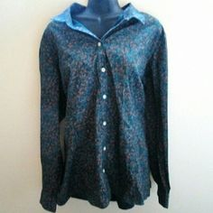 Eddie Bauer Abstract Shirt Excellent condition - no holes, stains or rips. 98% cotton, 2% spandex. Comes from a smoke free home.  No trades. No holds. Eddie Bauer Tops Button Down Shirts