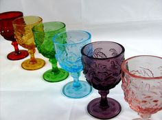 Antique Glassware Identification | Vintage Indiana Glass - Water Goblets - Rose and Leaf Pattern in a ...