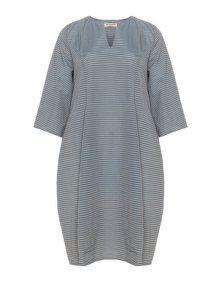 Privatsachen Striped cotton blend bubble dress in Smoky-Blue / Dark-Brown