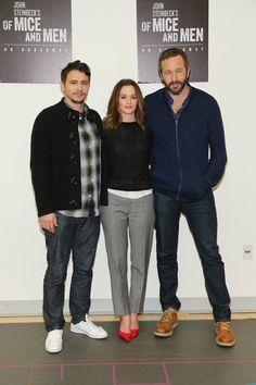 Leighton Meester Photos - Actors James Franco, Leighton Meester and Chris O'Dowd attend the 'Of Mice And Men' press conference at Signature Theatre, Rehearsal Studio 2 on March 6, 2014 in New York City. - 'Of Mice and Men' Press Conference in NYC