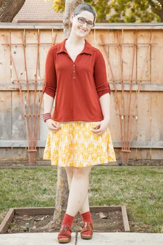 Rust top, yellow H&M skirt, Dansko sandals with socks.