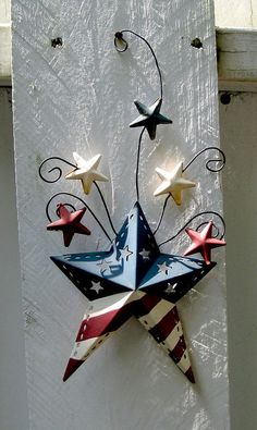 "~ Tin Red, White & Blue Stars ~ Great idea for the 10""x10"" Post on Front Porch...."