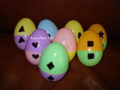 Done this with ABCs but for some reason never thought to do it with numbers and shapes...Easter Egg Matching Activity