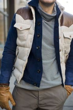 Love the flannel down vest Sharp Dressed Man, Well Dressed Men, Modern Mens Fashion, Man Fashion, Le Male, Down Vest, Weekend Wear, My Guy, Modern Man