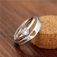 7ed5724e5b Sterling Silver Forever Love and Heart Couple Promise Rings Couple Rings, Promise  Rings For Couples