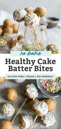 Healthy Cake Batter Bites!! These no-bake funfetti style treats are perfect for a variety of occasions or just make a great snack. Vegan and gluten free recipe, quick and easy. Like eating cake batter but in edible form. Vegan Dessert Recipes, Gluten Free Recipes, Whole Food Recipes, Delicious Desserts, Snack Recipes, Kitchen Recipes, Dinner Recipes, Healthy Cake Pops, Protein Snacks