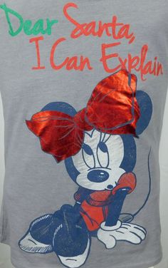 Disney Minnie Mouse Dear Santa I Can Explain T-shirt Womens Medium Gray  #Disney #GraphicTee