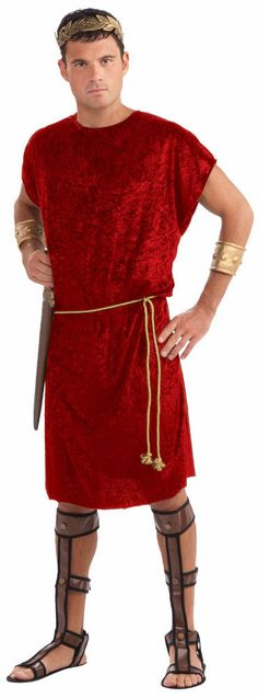 ROMAN 300 Greek Gladiator Tunic RED COSTUME Adult Men's One Size