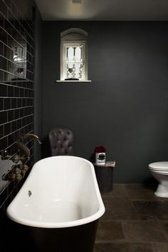 Down Pipe Modern Emulsion in dark bathroom decor 3 Modern Small Bathroom Ideas - Great Bathroom Reno Small Dark Bathroom, Dark Bathrooms, Bathroom Spa, Bathroom Colors, Bathroom Ideas, Relaxing Bathroom, Copper Bathroom, Attic Bathroom, Bathroom Storage
