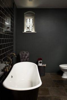 Down Pipe Modern Emulsion in dark bathroom decor 3 Modern Small Bathroom Ideas - Great Bathroom Reno Bathroom Rules, Bathroom Spa, Bathroom Colors, Bathroom Renovations, Bathroom Ideas, Copper Bathroom, Relaxing Bathroom, Attic Bathroom, Master Bathroom