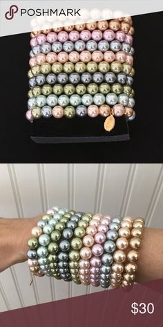"""KJL First Lady Simulated Pearl Bracelet Set KJL alabaster glass simulated pearl stretch bracelets. Set of 10 includes pink, gold, light blue, lavender, light green, gray, peach, dark green, dark gray, and multicolor. Simulated pearls measure approximately 10.0mm. Fits an average-size wrist. Measures approximately 3/8"""" wide. Made to go with the KJL Inaugural Simulated Pearl Necklace (also available). Kenneth Jay Lane Jewelry Bracelets"""
