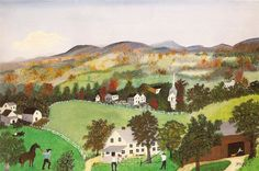 Grandma Moses Paintings | Grandma Moses, Fall in the Hills, 1954, oil, Private Collection