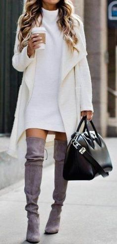 #fall #outfits / all-white   gray boots