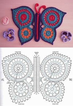 With over 50 free crochet butterfly patterns to make you will never be bored again! Get your hooks out and let& crochet some butterflies! Motifs D'appliques, Crochet Motifs, Freeform Crochet, Crochet Diagram, Crochet Chart, Crochet Squares, Crochet Stitches, Crochet Patterns, Knitting Patterns
