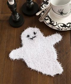 Free knitting pattern for Ghostly Dish Scrubber - Nancy Anderson designed this Halloween ghost shaped cloth for Red Heart Yarn. Dishcloth Knitting Patterns, Crochet Dishcloths, Free Knitting, Loom Knitting, Crochet Ideas, Halloween Crochet, Halloween Crafts, Crochet Fall, Amigurumi