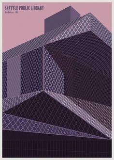 André Chiote reimagina las bibliotecas del mundo como ilustraciones minimalistas