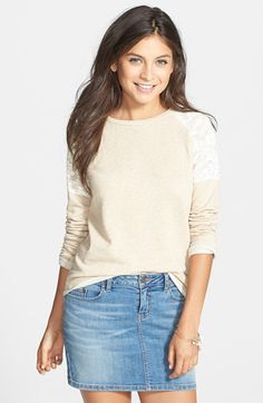 Elodie Crochet Shoulder Fleece Sweatshirt (Juniors) | Nordstrom
