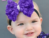 Purple Rosette Bow Headband with Rhinestone Center (Newborn-Adult)        http://www.etsy.com/shop/PACraftsfromtheHeart